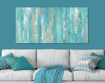 Large wall art, Teal home decor, Canvas art print, Abstract, Master bedroom decor, Teal green blue, Aqua artwork, Oversized