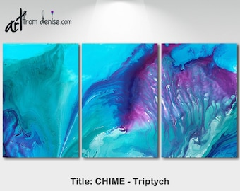 Aqua Purple Watercolor art, Large abstract 3 panel canvas set, Bedroom wall art, Dorm room decor, Teal Turquoise Navy Blue Plum