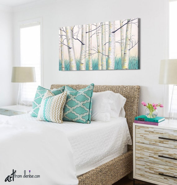 Aspen White Painted Bedroom Pine Image Etsy Aqua Teal Yellow And Gray Wall Art Landscape Painting White Etsy