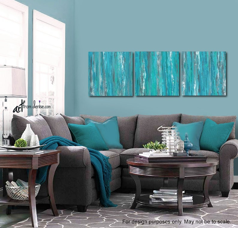 Gray And Teal Wall Art 3 Piece Canvas Abstract Set Blue