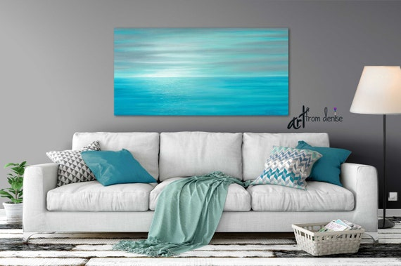 Wondrous Aqua Blue Gray And Teal Sunset Painting Original Canvas Wall Art Coastal Beach Decor Above Bed Over Couch Or Dining Living Room Picture Evergreenethics Interior Chair Design Evergreenethicsorg
