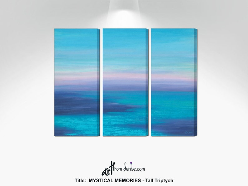 Ocean painting 3 piece wall art canvas triptych Beachy image 0