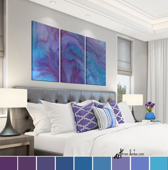 Purple and blue abstract wall art, Plum turquoise, 3 piece canvas print  set, Large multi panel triptych