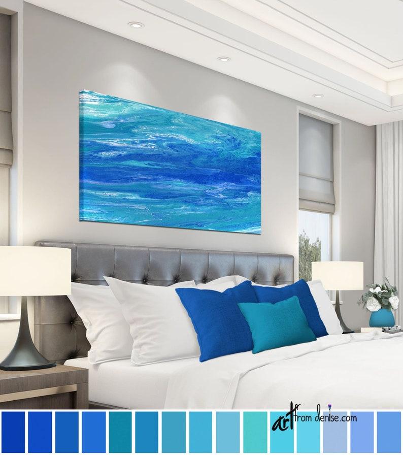 Teal & cobalt blue abstract coastal artwork Long horizontal image 0