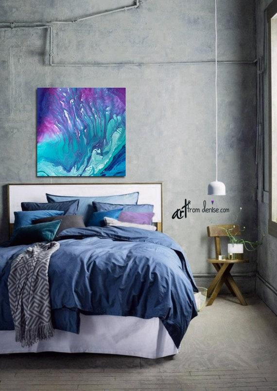 Abstract canvas wall art, Teal purple blue Jewel tone decor, Aqua turquoise  navy plum berry pink aubergine