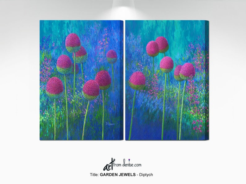Magenta blue & green canvas wall art / Large 2 piece abstract image 0