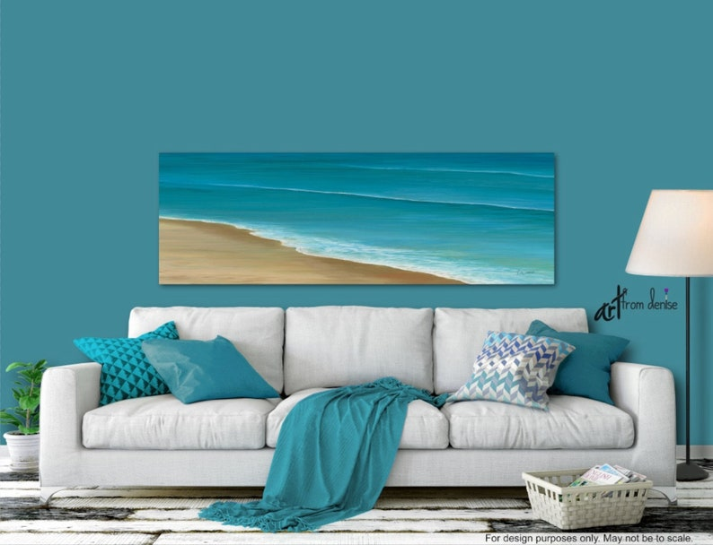 Beach ocean painting panoramic canvas wall art Teal blue image 0