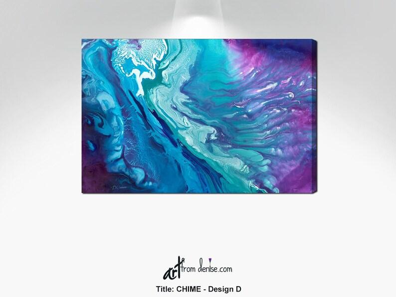 Abstract watercolor canvas print Purple teal aqua blue navy image 0