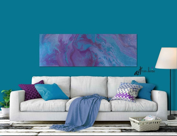 Panoramic canvas wall art, Purple blue turquoise plum, Horizontal Bedroom  or Living room art up to 60\