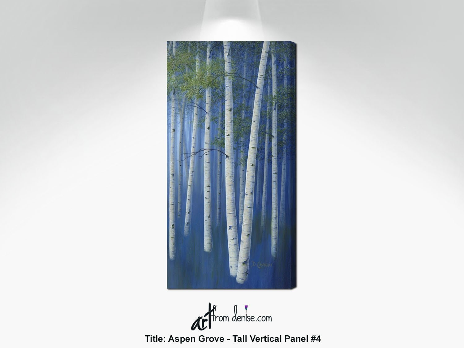 Narrow wall art aspen trees painting tall vertical canvas artwork olive green navy blue white aspen or birch trees decor