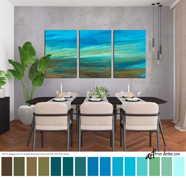 Abstract painting Large 3 piece wall art canvas print set image 0