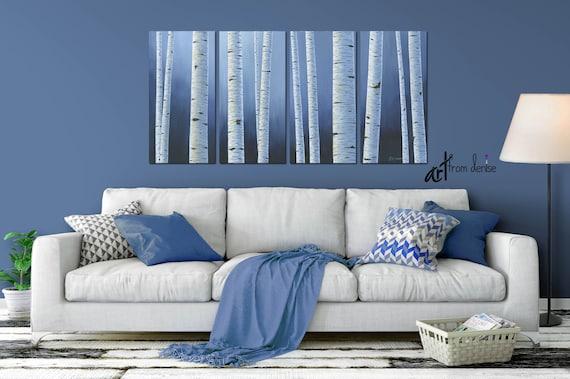 Aspen white painted bedroom Bedroom Furniture Image Etsy Navy Blue White Wall Art Birch Aspen Tree Painting Canvas Etsy