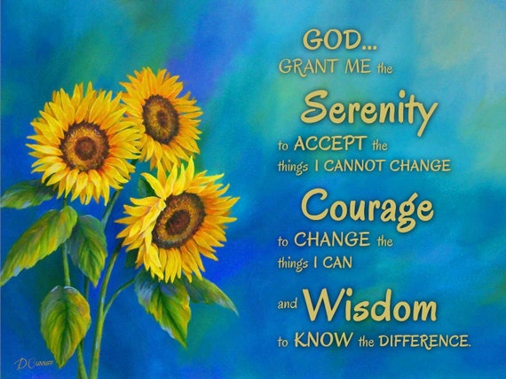 Serenity Prayer wall art, Canvas sunflower painting - Kitchen wall decor,  Laundry room pictures, bathroom artwork, entry way or foyer print