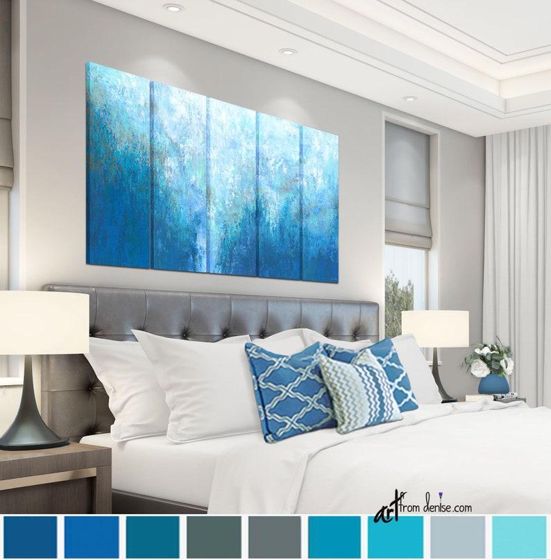 Oversized blue & white abstract wall art canvas Navy aqua | Etsy