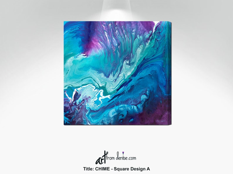 Large abstract canvas wall art, Teal purple & blue wall picture for bedroom  wall decor above bed, girls dorm room, or bathroom artwork