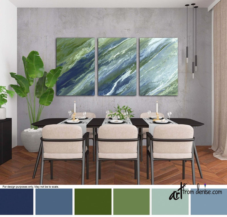 Navy olive abstract wall art Large 3 piece canvas print set image 0