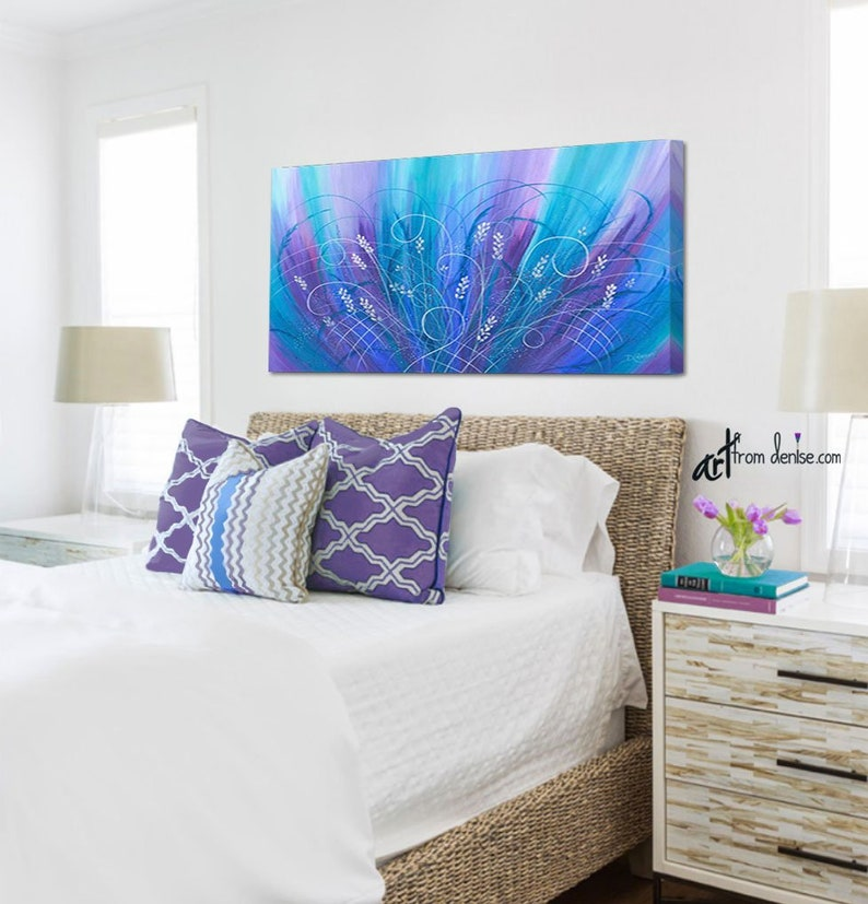 Blue & purple canvas abstract, Turquoise teal magenta pink, Large floral  wall art for jewel tone bedroom or bathroom decor