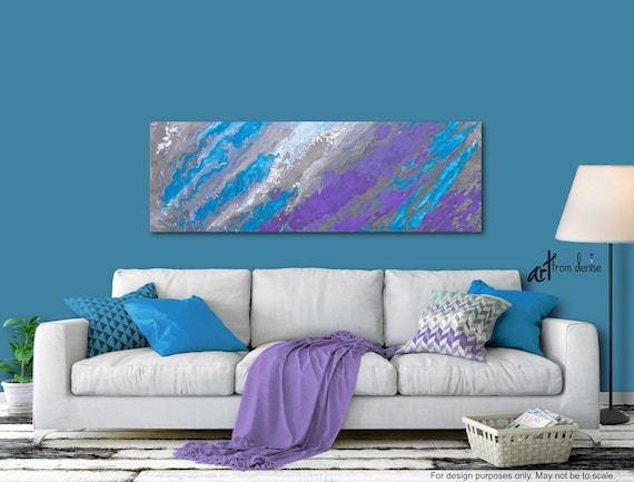 Gray blue & purple panoramic, Large abstract canvas art print, Wide wall  art for bedroom or living room decor