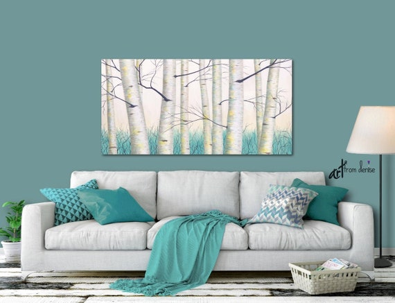 Aspen Tree Landscape Painting Aqua Teal Yellow Gray And White Etsy