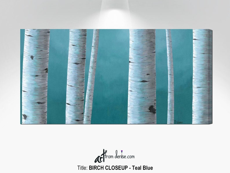 Aspen birch tree pictures canvas wall art Large teal blue image 0