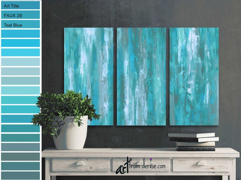 Large triptych abstract 3 piece wall art canvas Gray & teal image 0