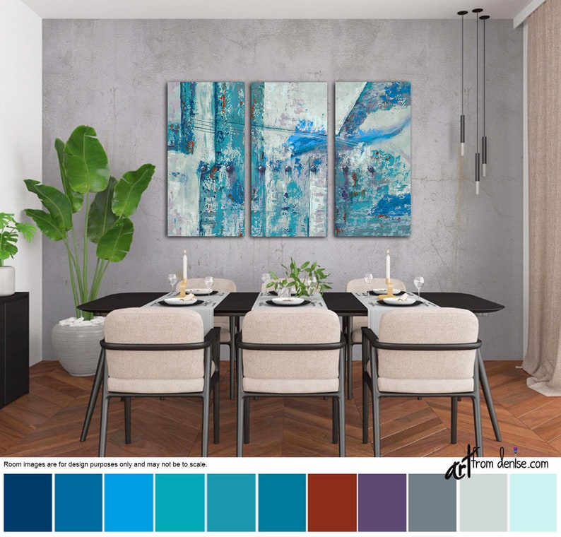 Red turquoise gray & teal wall art canvas abstract Large 3 image 0