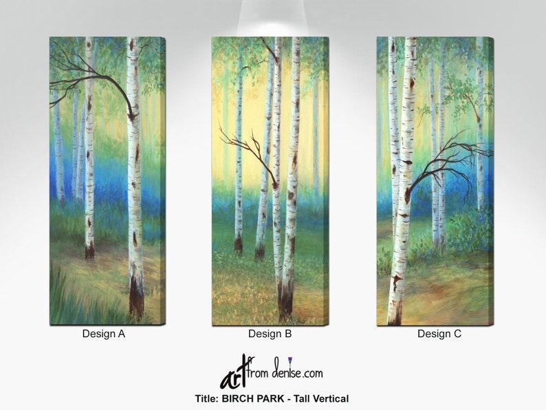 Aspen trees decor  Long tall & narrow vertical wall art image 0