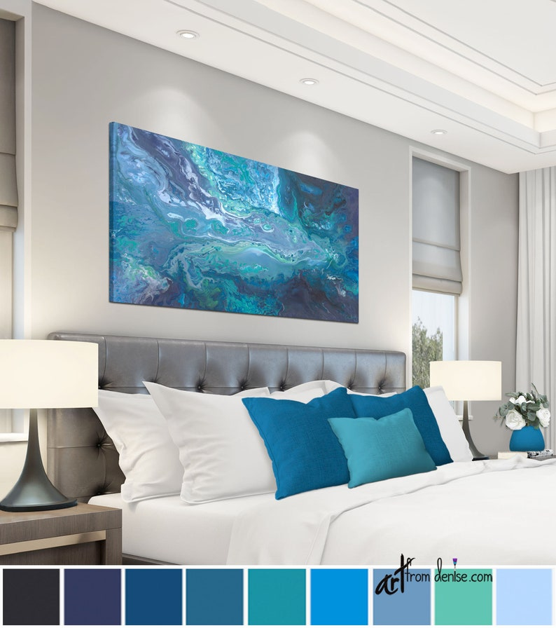 Navy Blue Gray And Teal Wall Art Large Wall Art Canvas Horizontal Bedroom Wall Decor Above Bed Art For Living Room Or Dining Pictures