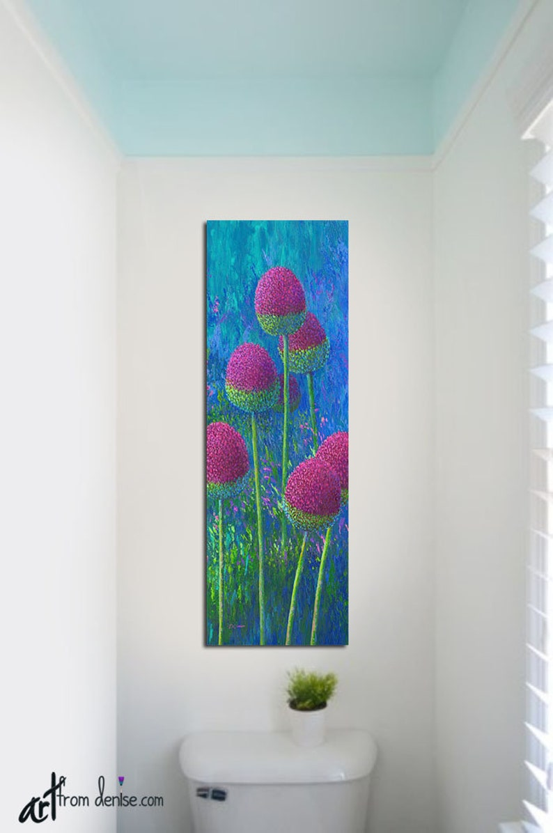Tall narrow vertical wall art canvas floral abstract colorful fbathroom picture purple magenta blue teal turquoise lime green pink