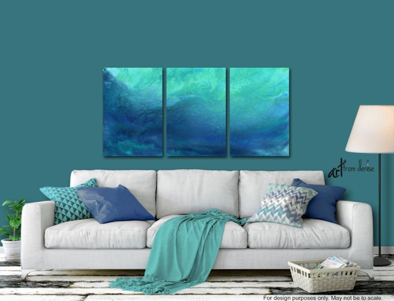 Blue Green Abstract Painting Dark blue cobalt teal aqua image 0
