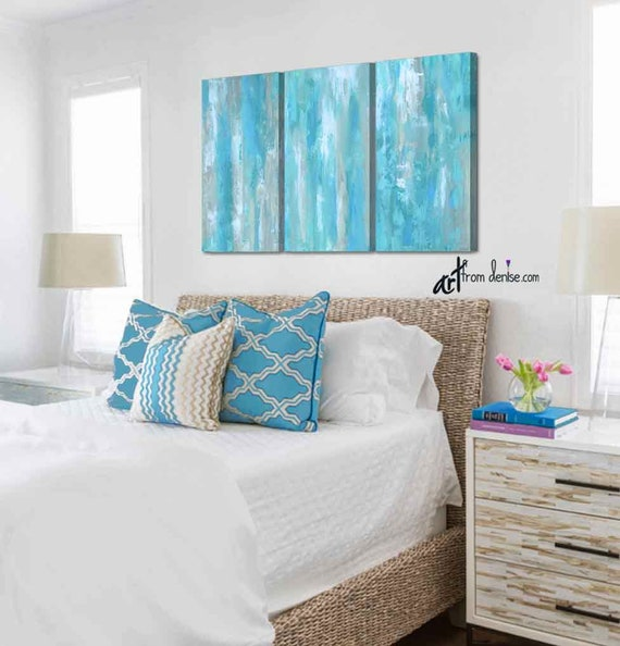 Large aqua blue abstract triptych, Teal gray tan white living, dining room  or bedroom wall art, Tall 3 piece canvas print set