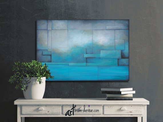 Brilliant Rustic Art Work Teal Aqua Blue Gray Large Abstract Landscape Canvas Wall Art Above Bed Decor Art Over Couch Or Dining Room Picture Evergreenethics Interior Chair Design Evergreenethicsorg