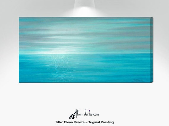 Tremendous Aqua Blue Gray And Teal Sunset Painting Original Canvas Wall Art Coastal Beach Decor Above Bed Over Couch Or Dining Living Room Picture Evergreenethics Interior Chair Design Evergreenethicsorg