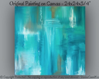 Teal abstract painting, Canvas art, Large wall art, Home decor, Blue & brown, Turquoise artwork Original, Master bedroom decor, Office