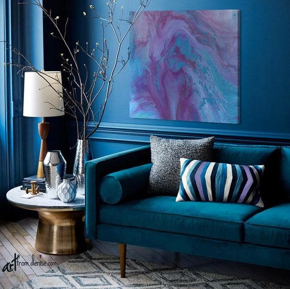 Abstract art purple blue turquoise plum, Bathroom living room or bedroom  wall art, Square canvas print