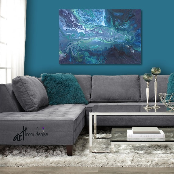 Astounding Abstract Canvas Wall Art Teal Grey Aqua Blue Turquoise Artwork For Bedroom Living Room Or Office Wall Decor Evergreenethics Interior Chair Design Evergreenethicsorg
