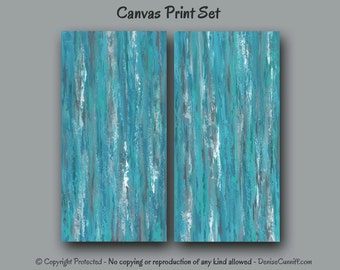 Abstract paintings - Canvas print set, Large wall art, Gray Turquoise Aqua, Teal home decor, Bedroom artwork, Living room Dining, Office