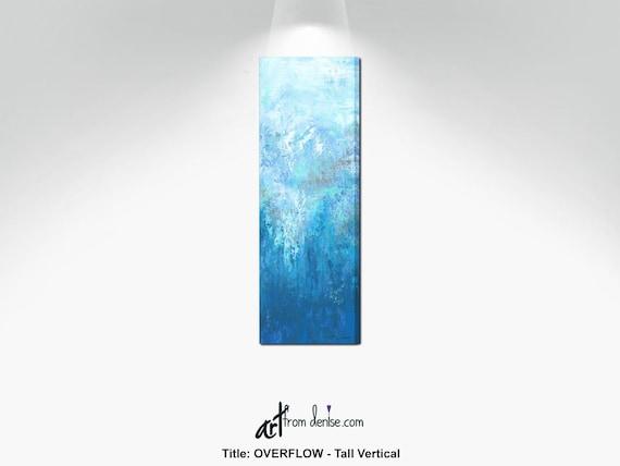 Tall Vertical Wall Art Canvas Abstract Long Narrow Gray Aqua Etsy