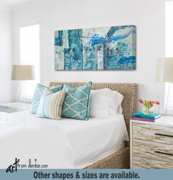 Red turquoise gray & teal wall art canvas abstract, Large 3 piece set for  bedroom over bed, decor above couch or dining living room pictures