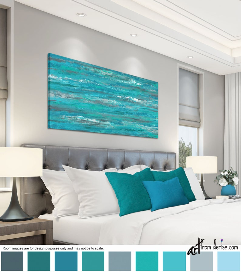 Turquoise gray and teal abstract Long horizontal canvas wall image 0