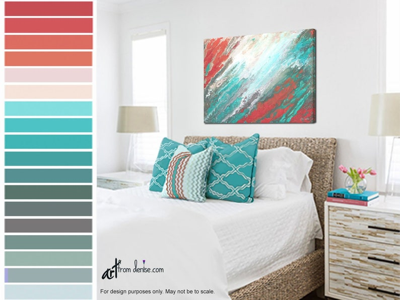 Coral Teal Coastal Artwork Picture Beachy Wall Art Canvas Etsy