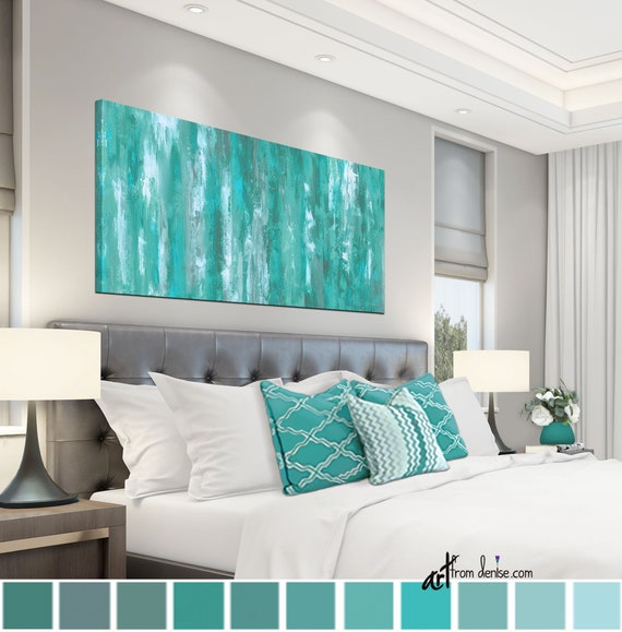 Gray Green Teal Wall Art Canvas Abstract Bedroom Decor Over Bed Pictures For Living Dining Room Horizontal Artwork