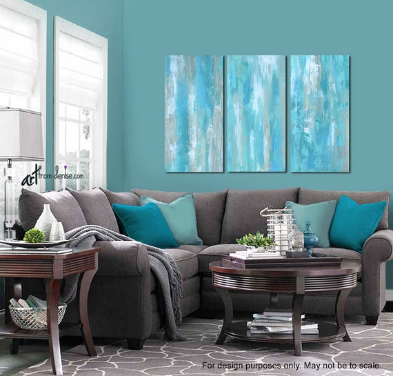 Large Aqua Blue Abstract Triptych Teal Gray Tan White Living Etsy