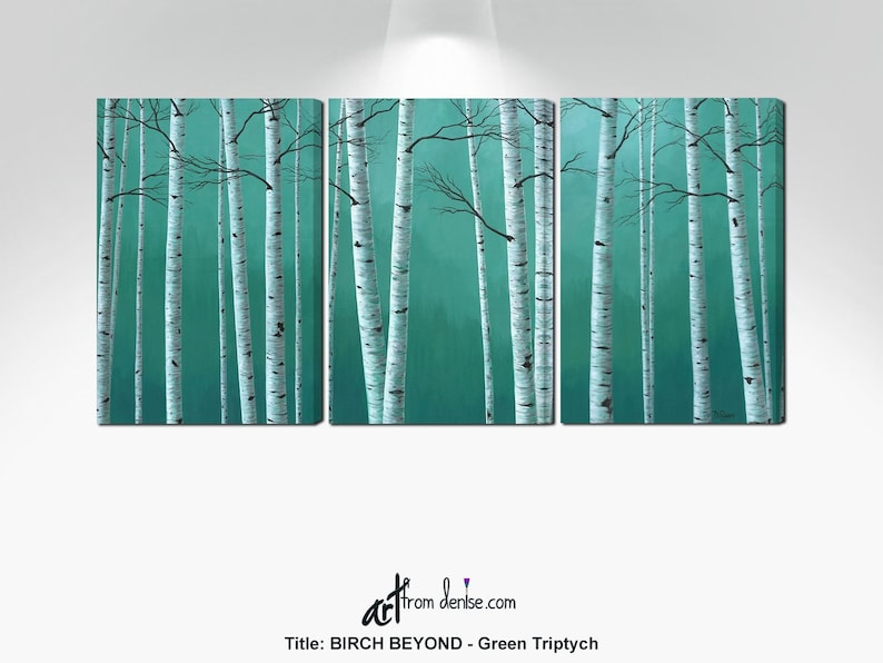 Teal green aspen trees birch tree pictures Large 3 piece image 0