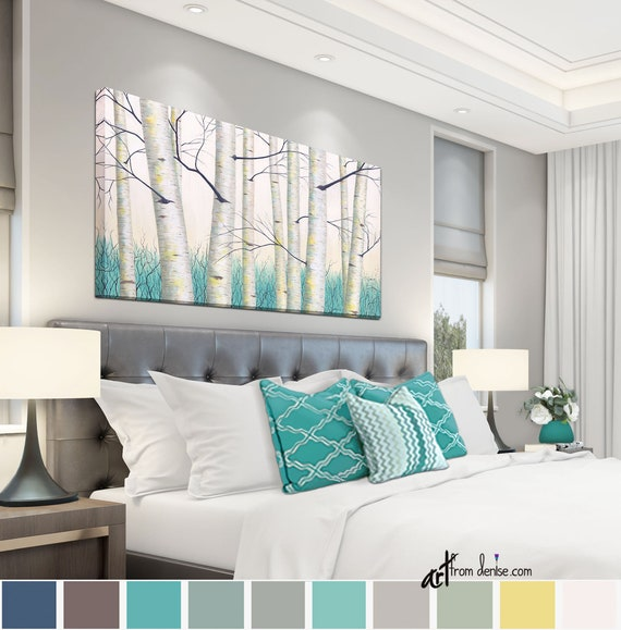 Aspen tree landscape painting, Aqua teal yellow gray and white birch tree  canvas wall art, Bedroom bathroom living & dining room wall decor