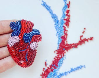 Anatomical heart embroidery brooch