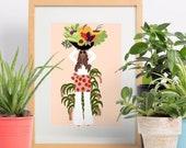 The Lovely Gardener - art print, gardener art, black art, home decor,wall art,gallery wall,plant lover,african american art, cute art