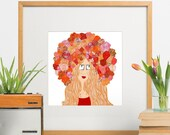 Flower Crowned Redhead - art print - home decor