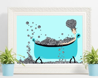 Bath Time ART PRINT / Wall Art/ Bedroom Wall Decor/