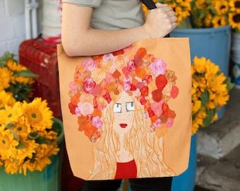 Flower Crown Redhead - Tote Bag - Shopping bag / Shoulder Bag /